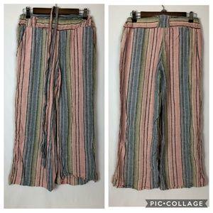 Indigo Rein Size Small Linen Crop Stripe Pants Tie